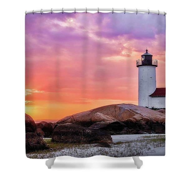 Pastel Sunset, Annisquam Lighthouse Shower Curtain