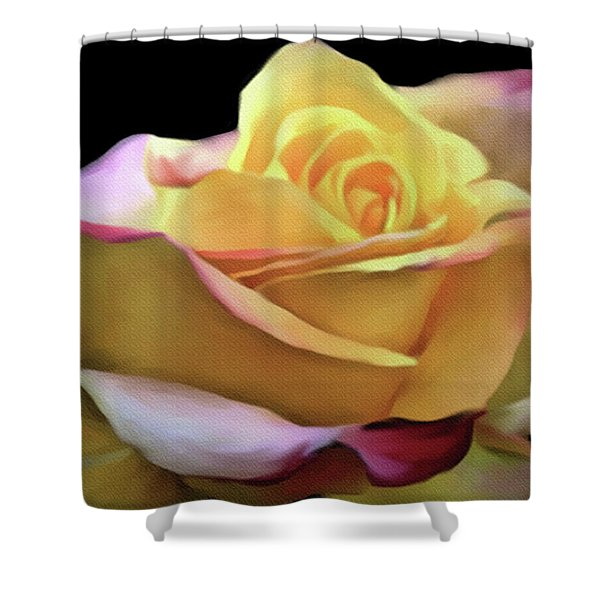 Pastel Yellow Rose Canvas Proofed Shower Curtain