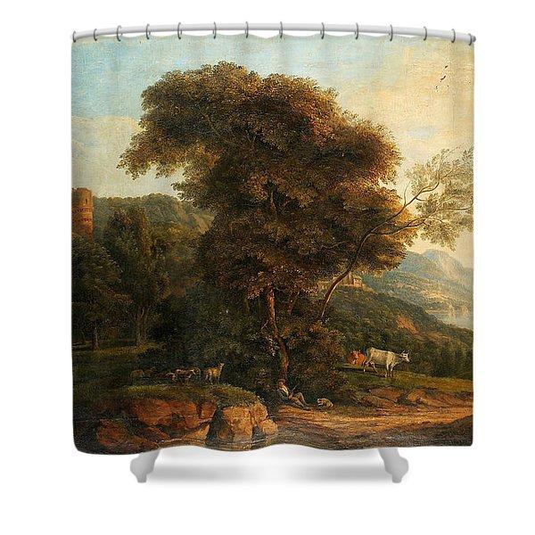 Pastoral Landscape With Dormant Shepherd Shower Curtain