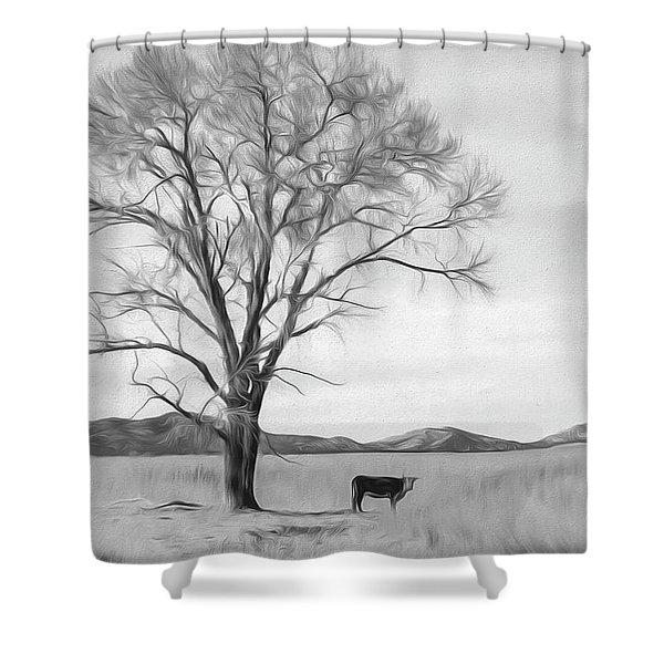 Patagonia Pasture Bw Shower Curtain
