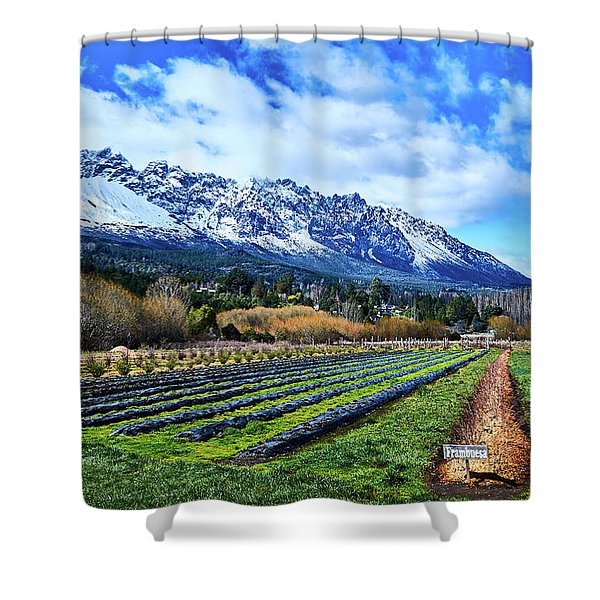 Landscape With Mountains And Farmlands In The Argentine Patagonia Shower Curtain