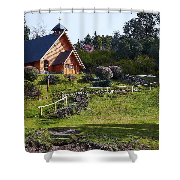 Rustic Church Surrounded By Trees In The Argentine Patagonia Shower Curtain