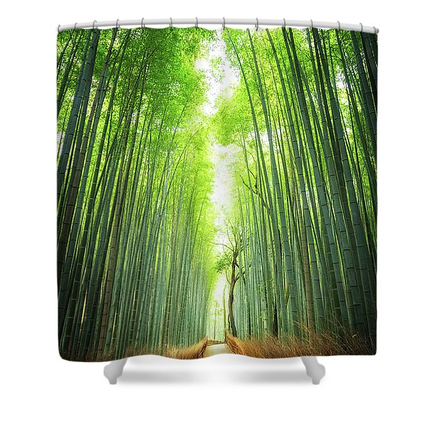 Pathway Through The Bamboo Grove Kyoto Shower Curtain