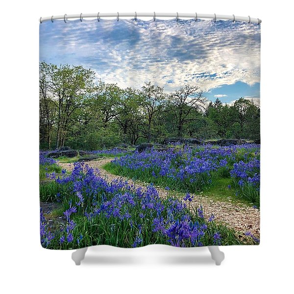 Pathway Through The Flowers Shower Curtain