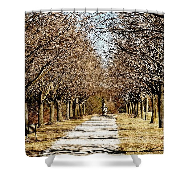Pathway Through Trees Shower Curtain