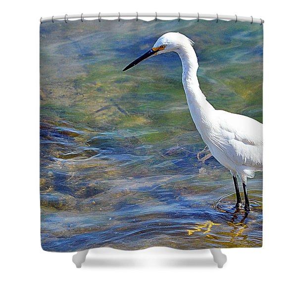 Patient Egret Shower Curtain
