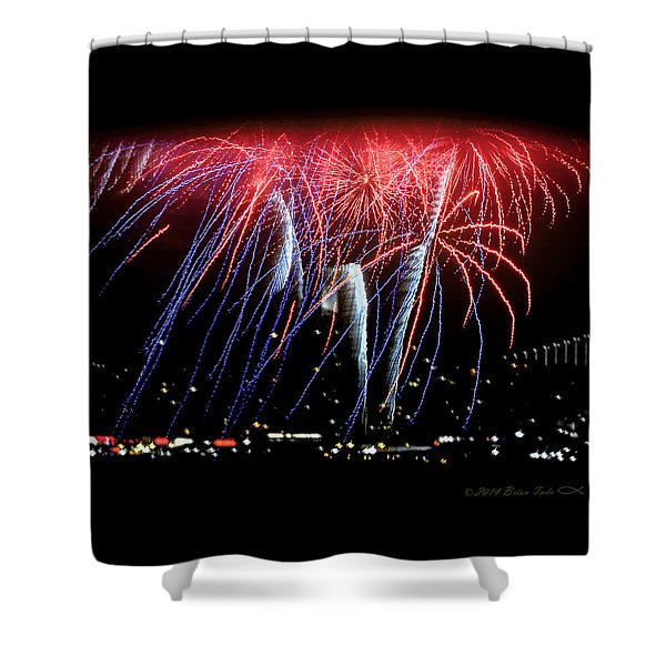 Patriotic Fireworks S F Bay Shower Curtain
