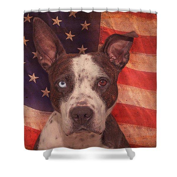 Patriotic Pit Bull  Shower Curtain