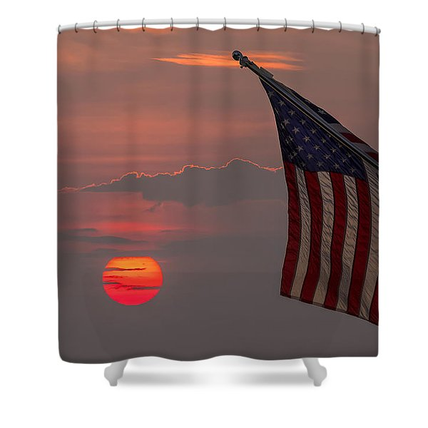 Patriotic Sunset Shower Curtain