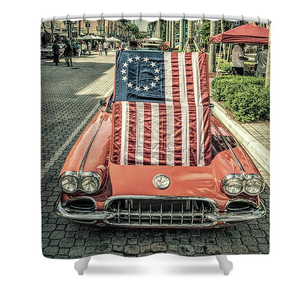 Patriotic Vette Shower Curtain