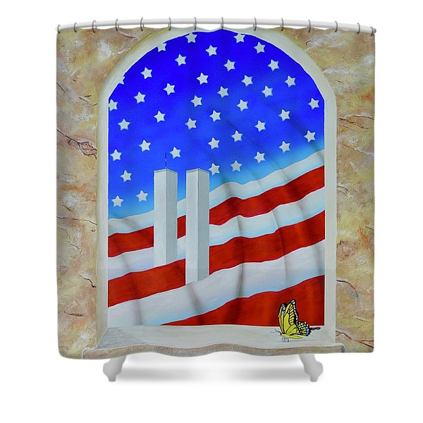 Shower Curtain featuring the painting Patriotic View by Mary Scott