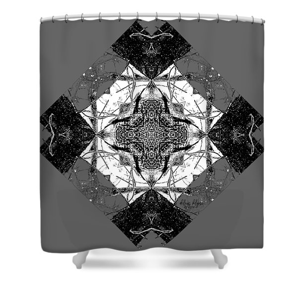 Shower Curtain featuring the digital art Pattern In Black White by Deleas Kilgore