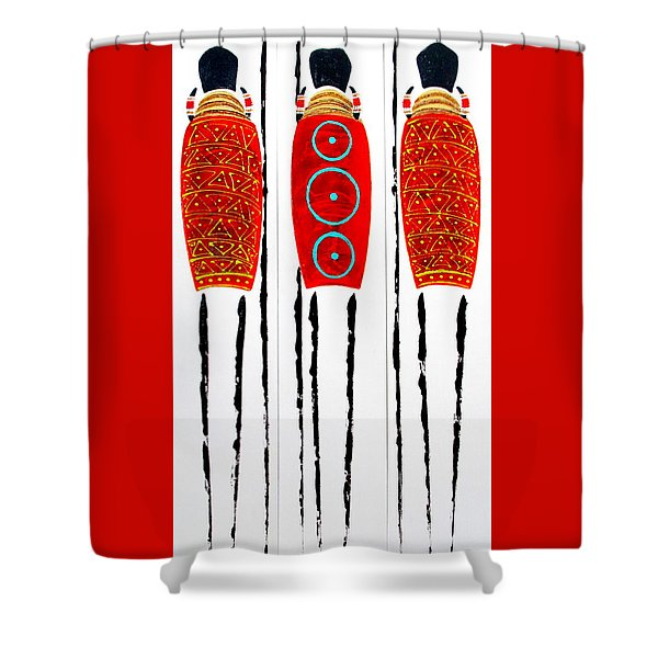 Patterned Masai Triptych Shower Curtain