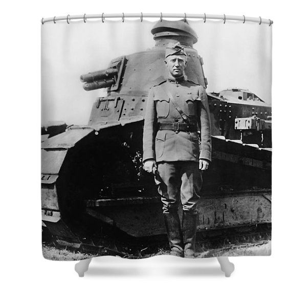 Patton Beside A Renault Tank - Wwi Shower Curtain