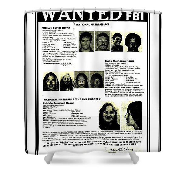 Patty Hearst Symbionese Liberation Army Wanted Poster September 1974 Shower Curtain