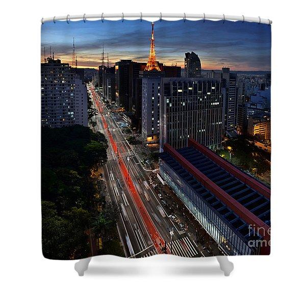 Paulista Avenue And Masp At Dusk - Sao Paulo - Brazil Shower Curtain