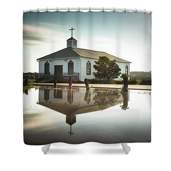 Pawleys Chapel Reflection Shower Curtain