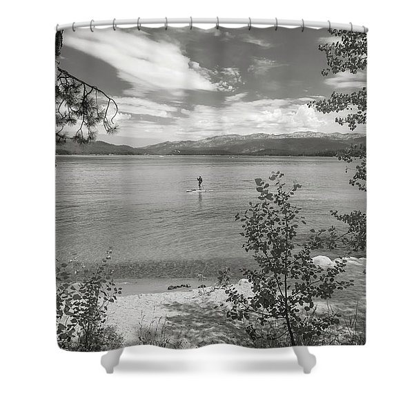 Payette Lake Boarder Shower Curtain