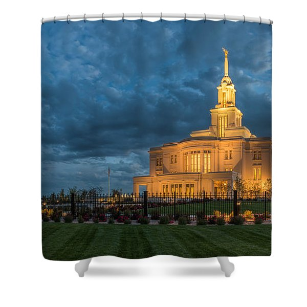 Payson Temple Panorama Shower Curtain
