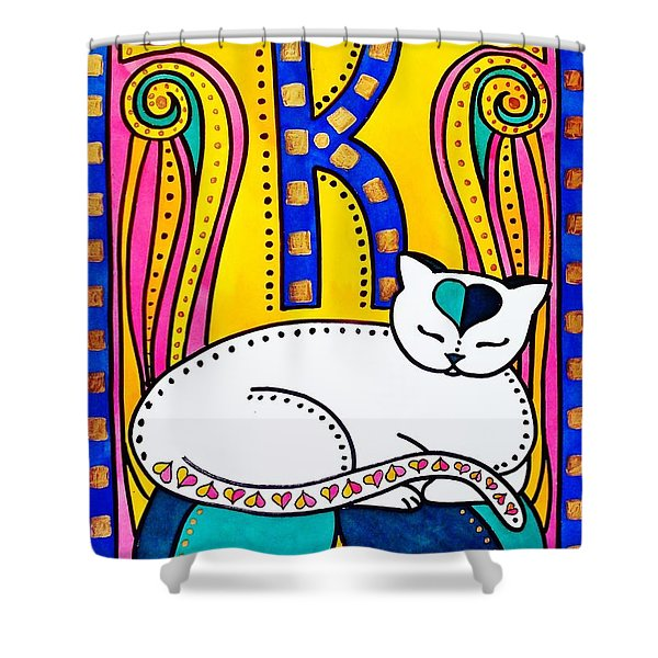 Peace And Love - Cat Art By Dora Hathazi Mendes Shower Curtain
