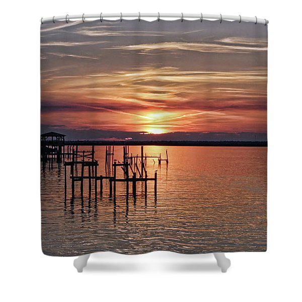 Peace Be With You Sunset Shower Curtain