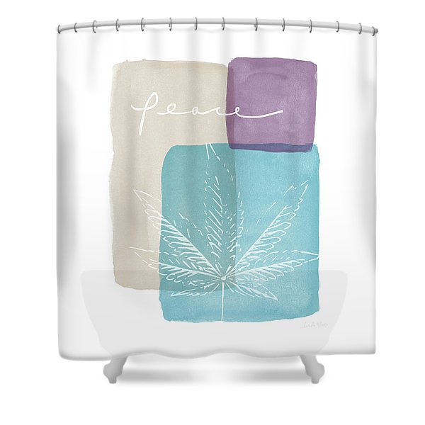 Peace Cannabis Leaf Watercolor- Art By Linda Woods Shower Curtain