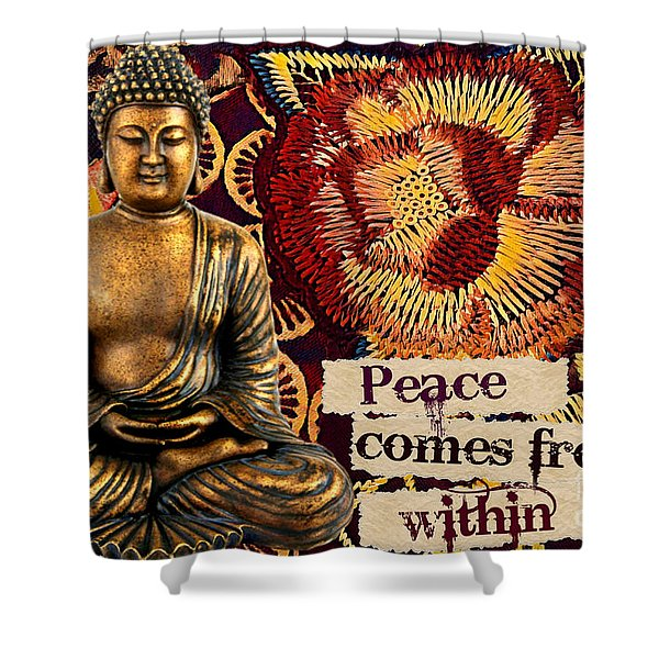 Peace Comes From Within. Buddha Shower Curtain