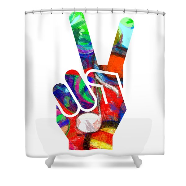 Peace Hippy Paint Hand Sign Shower Curtain