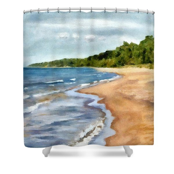 Peaceful Beach At Pier Cove Ll Shower Curtain