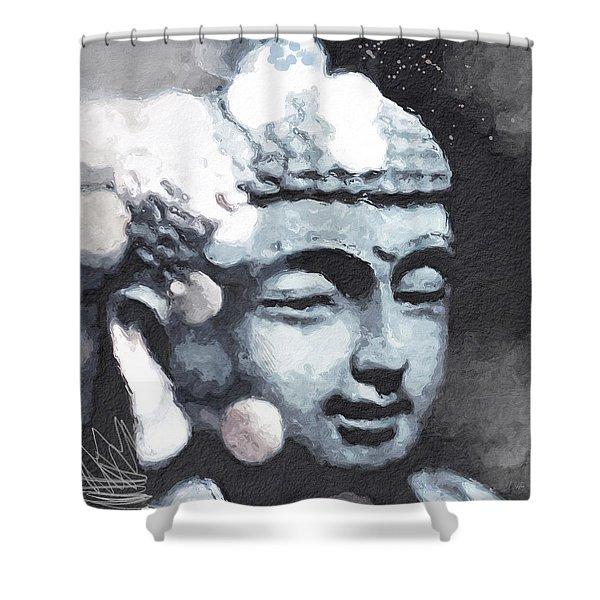 Peaceful Buddha 3- Art By Linda Woods Shower Curtain