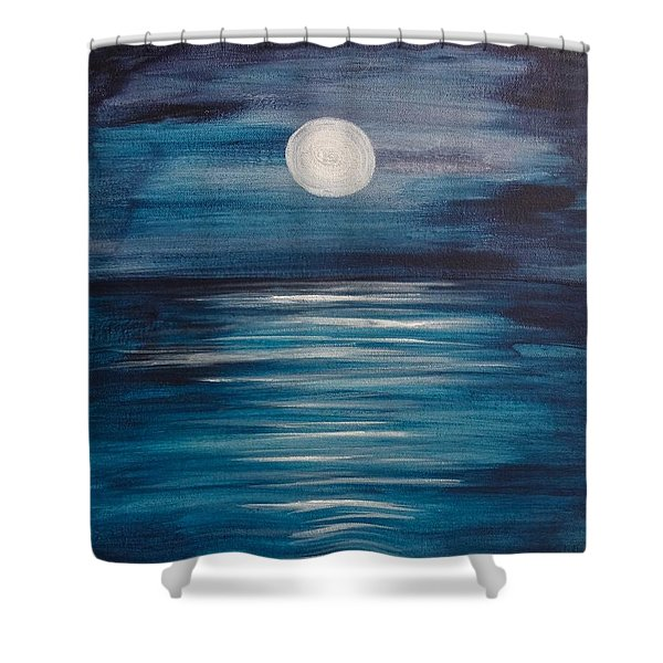 Peaceful Moon At Sea Shower Curtain