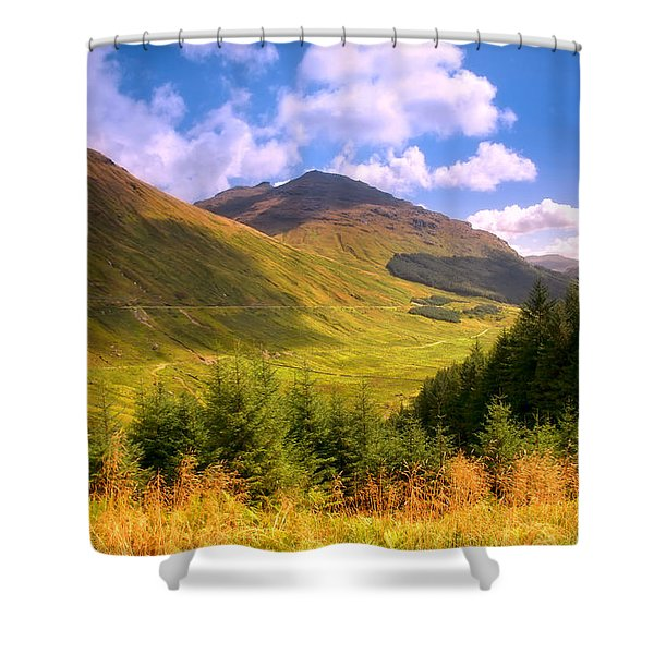 Peaceful Sunny Day In Mountains. Rest And Be Thankful. Scotland Shower Curtain