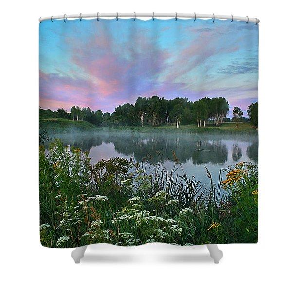 Peaceful Sunrise At Lake. Altai Shower Curtain