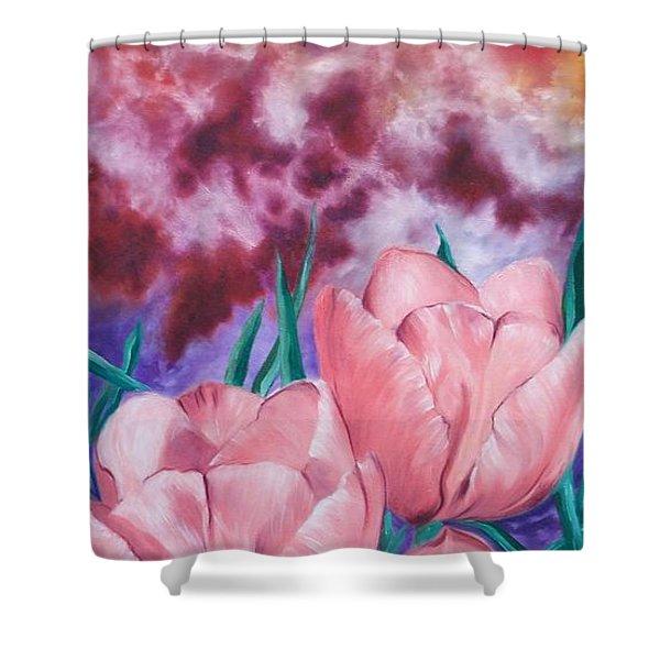 Peachypink Tulips Shower Curtain