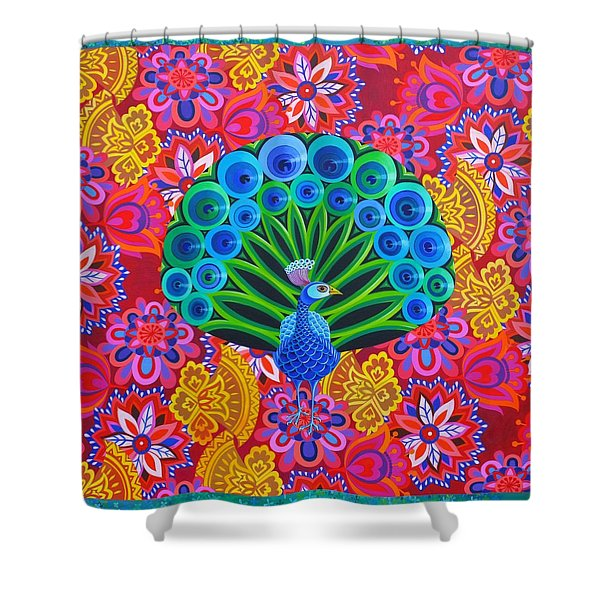 Peacock And Pattern Shower Curtain