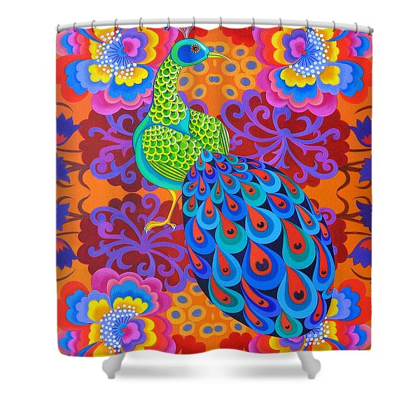 Peacock With Flowers Shower Curtain