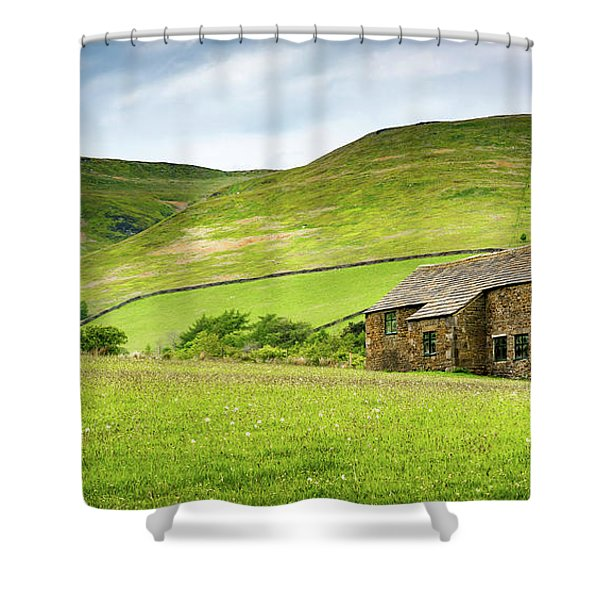 Shower Curtain featuring the photograph Peak Farm by Nick Bywater