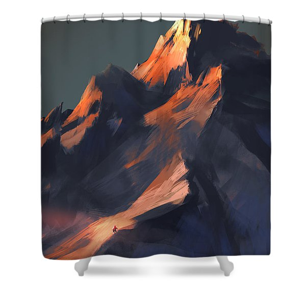 Shower Curtain featuring the painting Peak by Tithi Luadthong