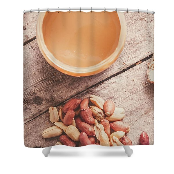 Peanut Butter Jar With Peanuts On Wooden Surface Shower Curtain