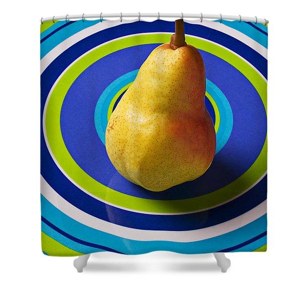 Pear On Plate With Circles Shower Curtain