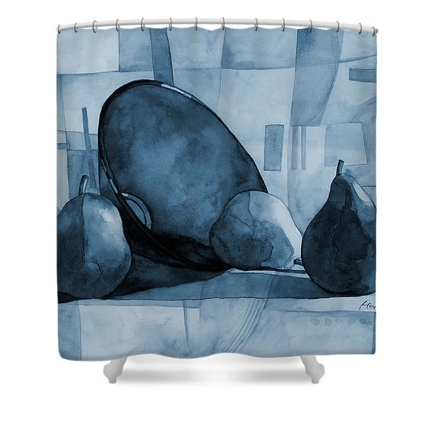 Pears And Blue Bowl On Blue Shower Curtain