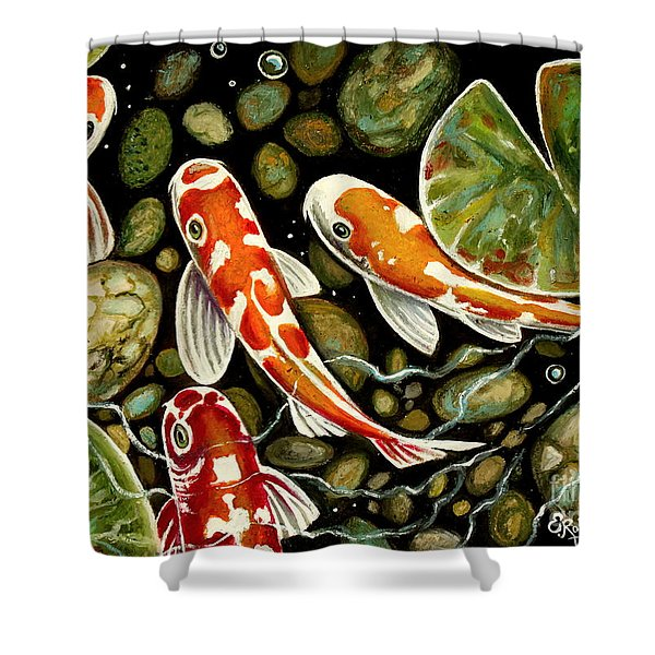 Pebbles And Koi Shower Curtain