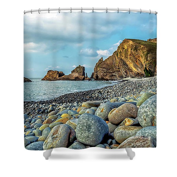Shower Curtain featuring the photograph Pebbles On The Beach by Nick Bywater
