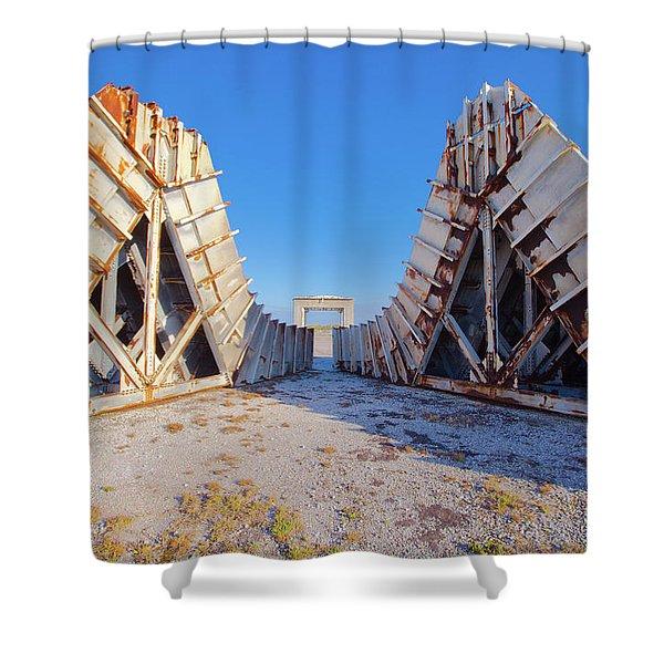 Pedestal Between The Deflectors Shower Curtain