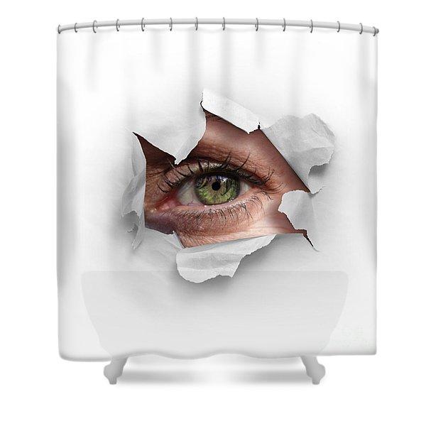 Peek Through A Hole Shower Curtain by Carlos Caetano