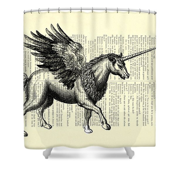 Pegasus Black And White Shower Curtain