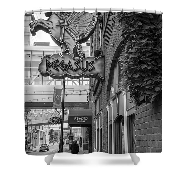 Pegasus In Detroit Black And White  Shower Curtain