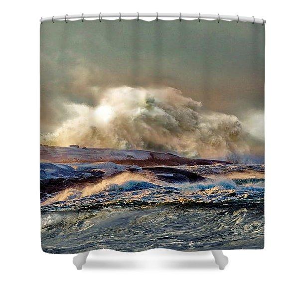 Peggy's Cove Winter Storm - Nova Scotia Shower Curtain