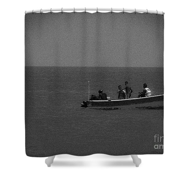 Pelican And The Fishing Boat Shower Curtain