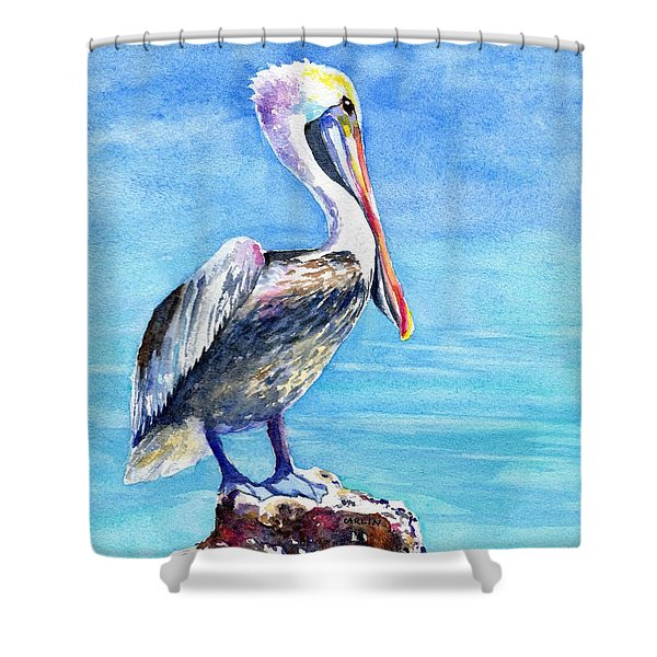 Pelican On A Post  Shower Curtain